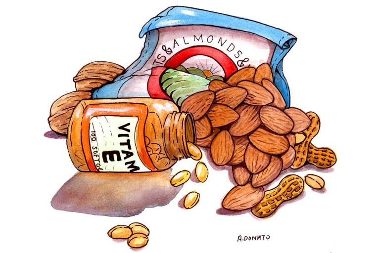 En naturlig, god og lækker kilde til E-vitamin er nødder!