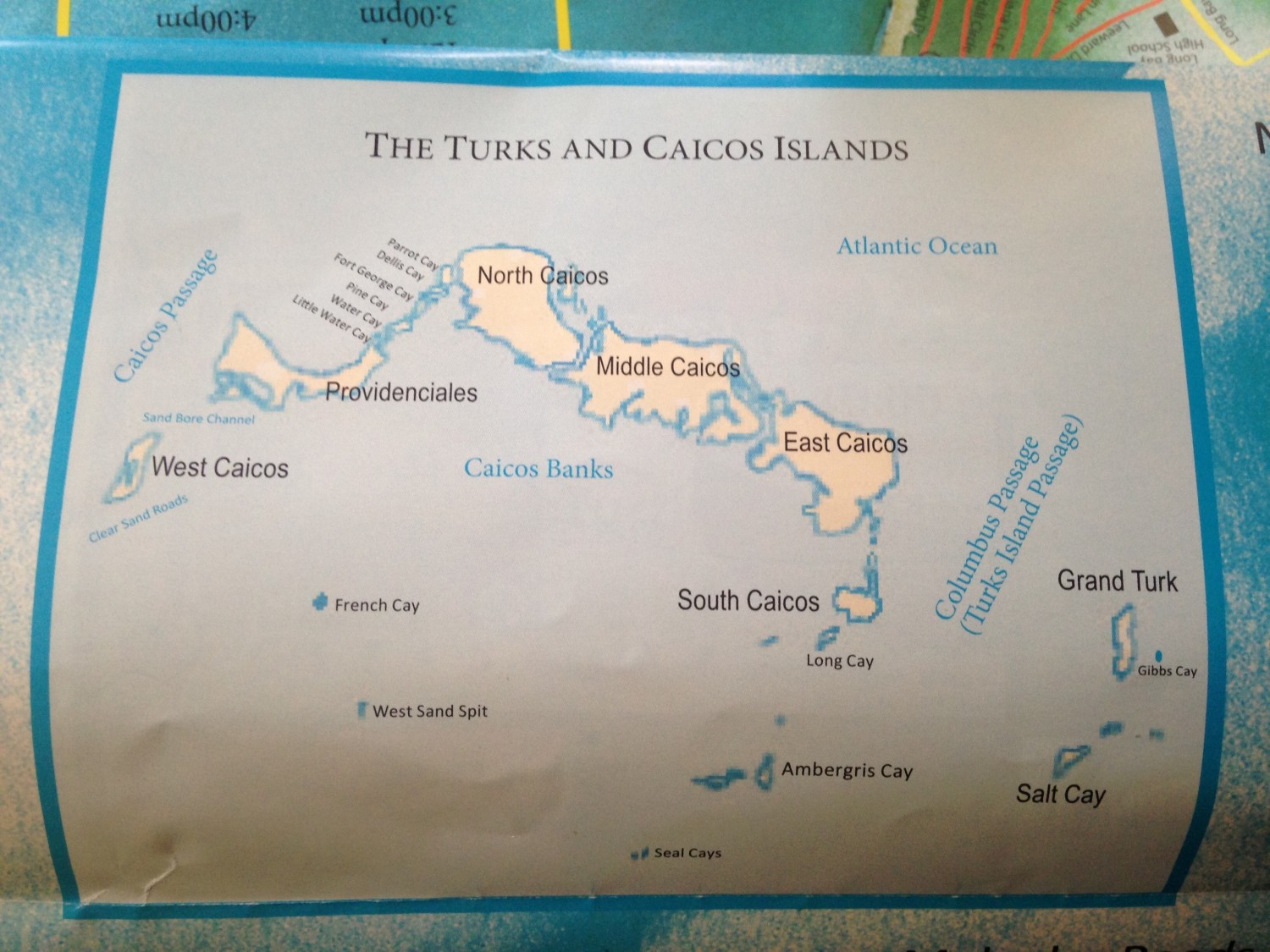 Kort over Turks and Caicos Islands