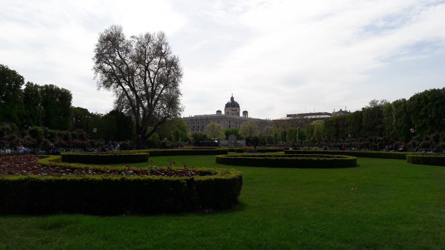 The garden in front of the National Library, which can be seen in the background