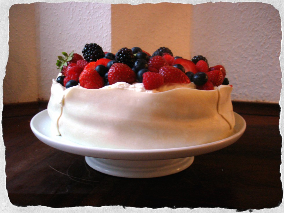 Layered marzipan cake with berries