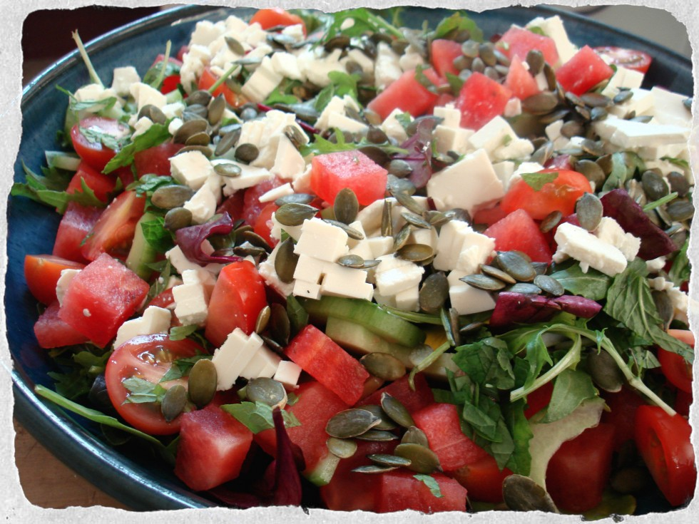 Summer salad with watermelon