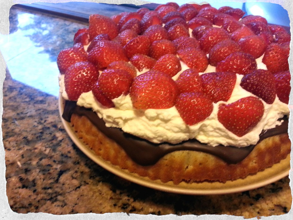 Strawberries and cream summer cake