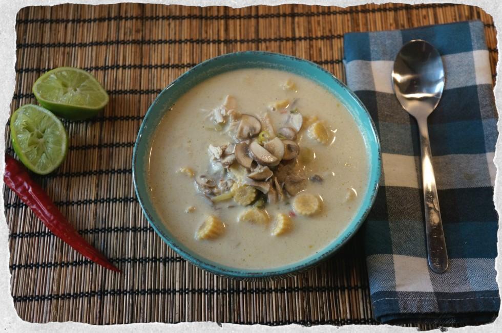 Homemade thai green curry soup