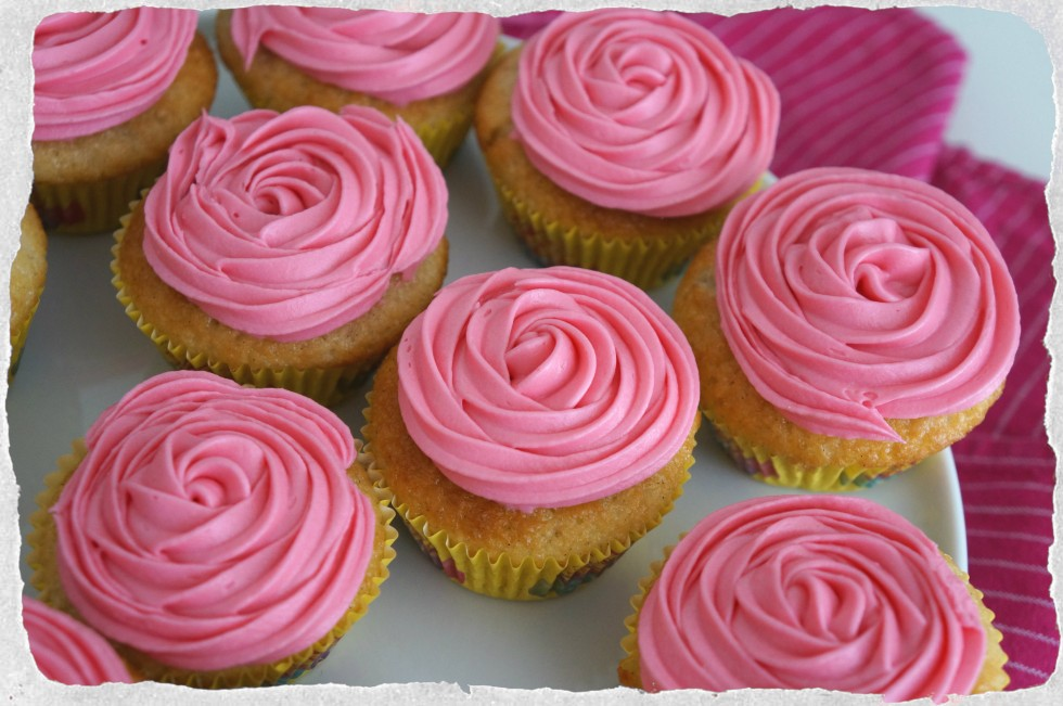 Vanilla cupcakes with rose water frosting