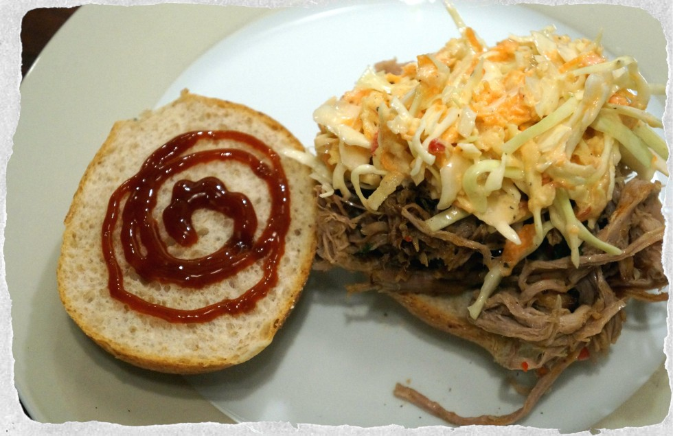 Pulled pork sandwich with cole slaw