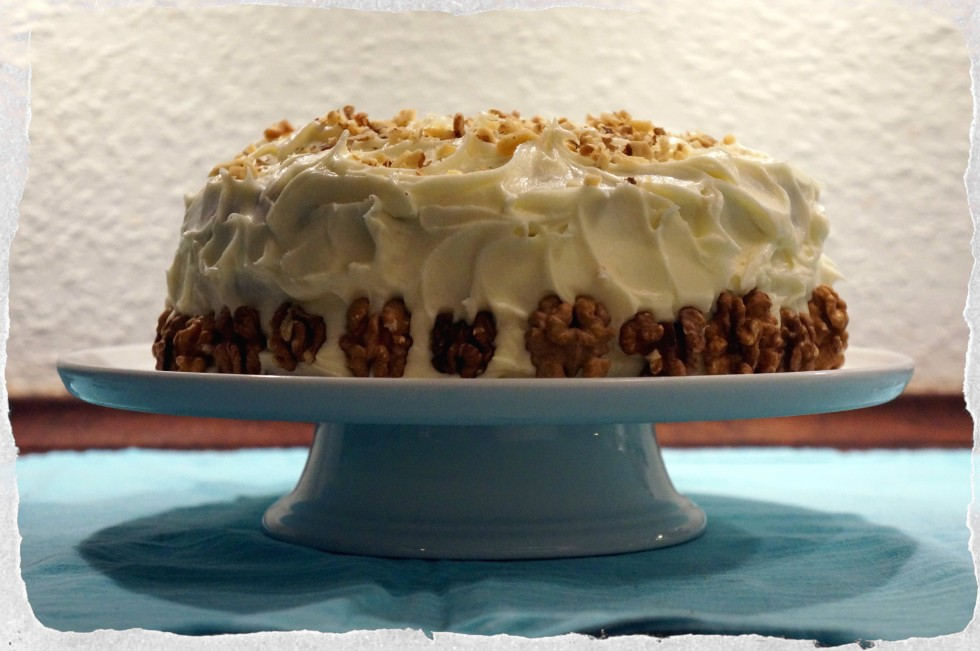 Carrot cake homemade with cream cheese frosting