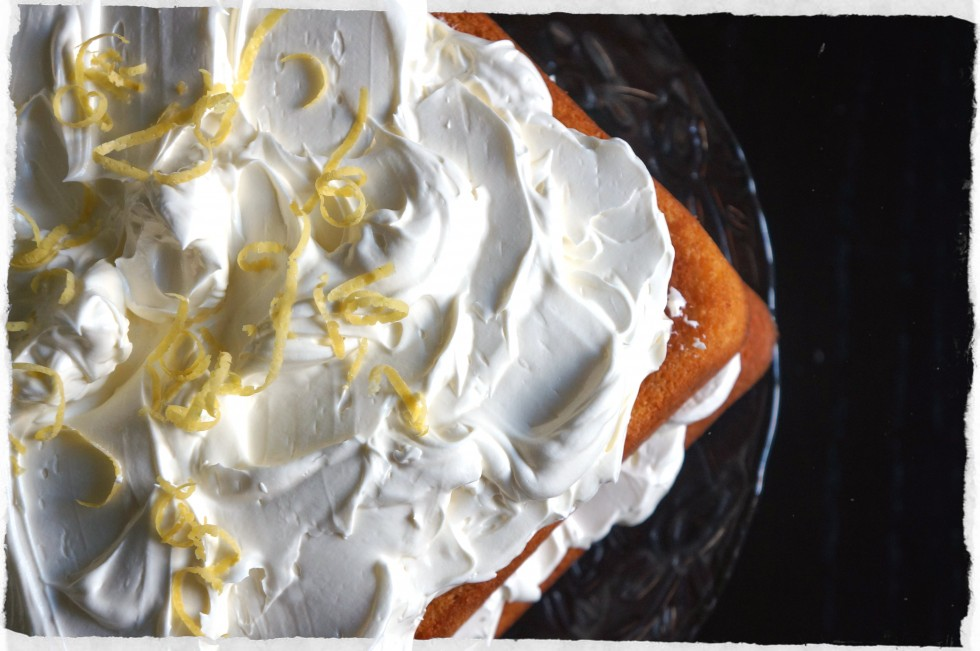 lemon cake with coconut maringue frostng