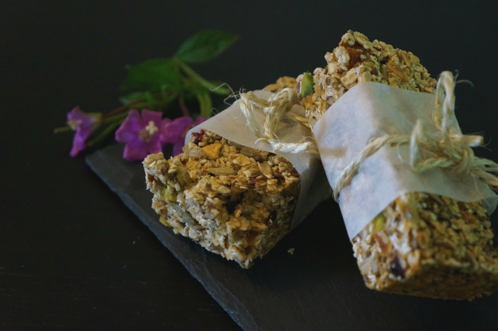 Granola bars with nuts and fruit