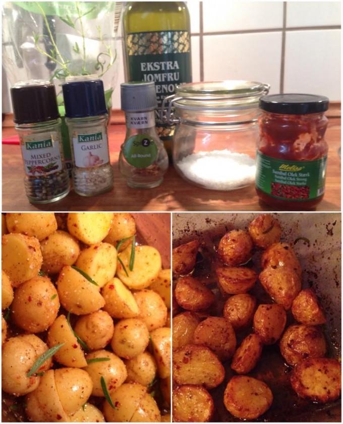 ingredienserne - før ovnen og da de var færdige! :)