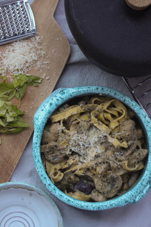 Pasta med champignon og aubergine - en hverdagsfavorit