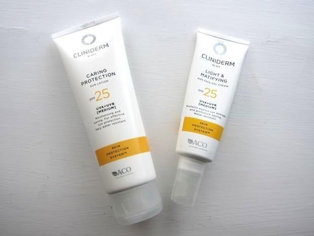 Cliniderm Caring Protection Sun Lotion og Cliniderm Light & Matifying Sun Face Gel Cream