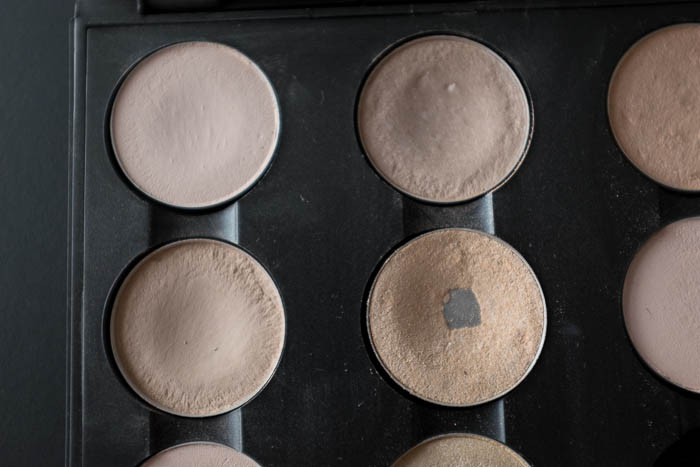 MAC Blanc Type, Brule, Shroom og Dazzlelight øjenskygger