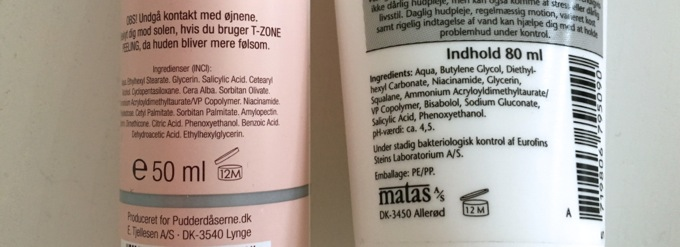 Matas Special Ansigtsgelé og Pudderdåserne T-Zone Peeling ingredienslister