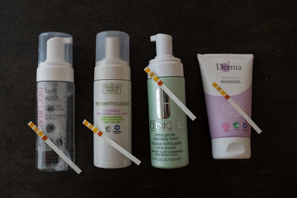 Ansigtrens Matas, Decubal, Clinique, Derma test