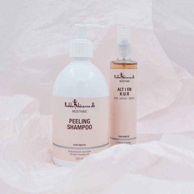 Peeling Shampoo og Alt i en Kur