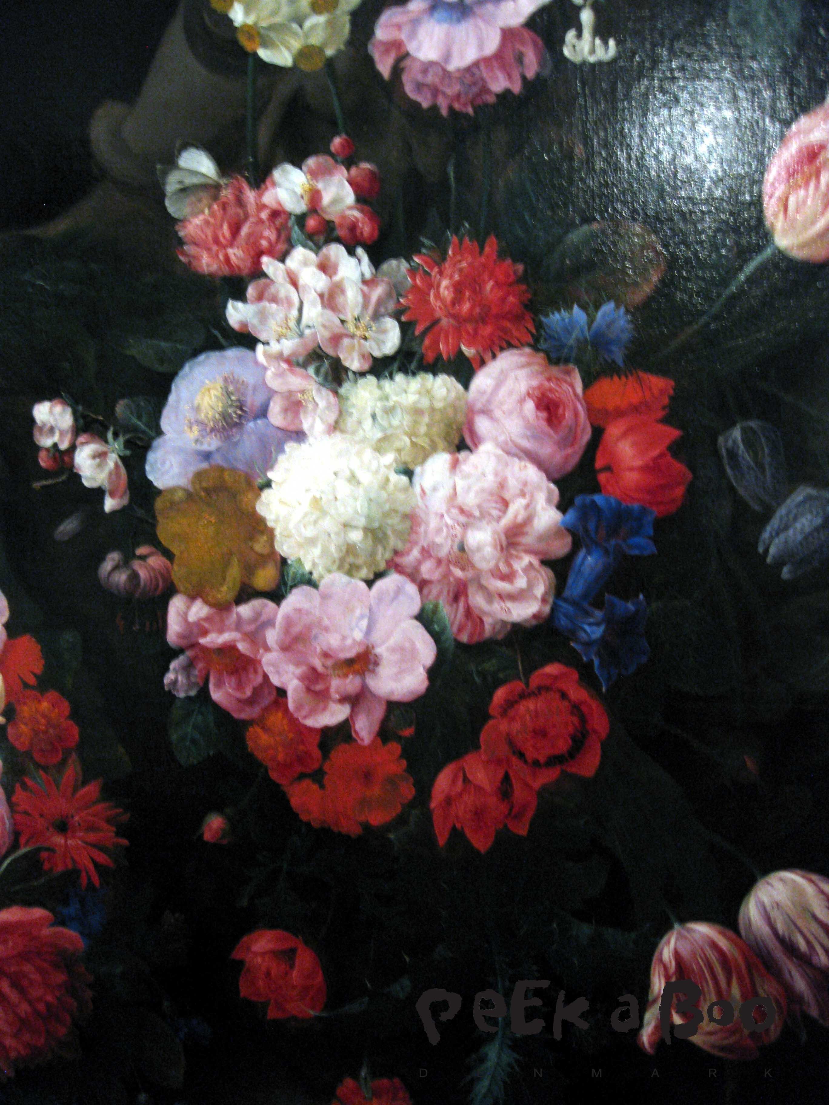 Udsnit af blomstermaleri fra 1600 tallet.