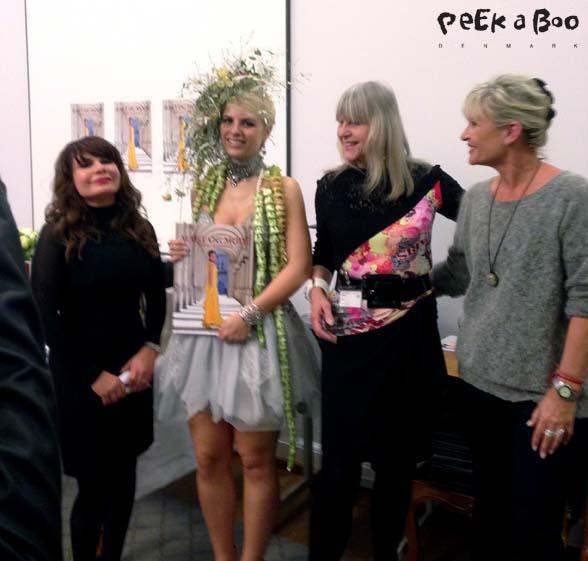 De tre samarbejdspartnere omkring bogen fra venstre Pari Khadem, en model stylet til dagens event, Lotte Freddie og Elona Sjøgren.