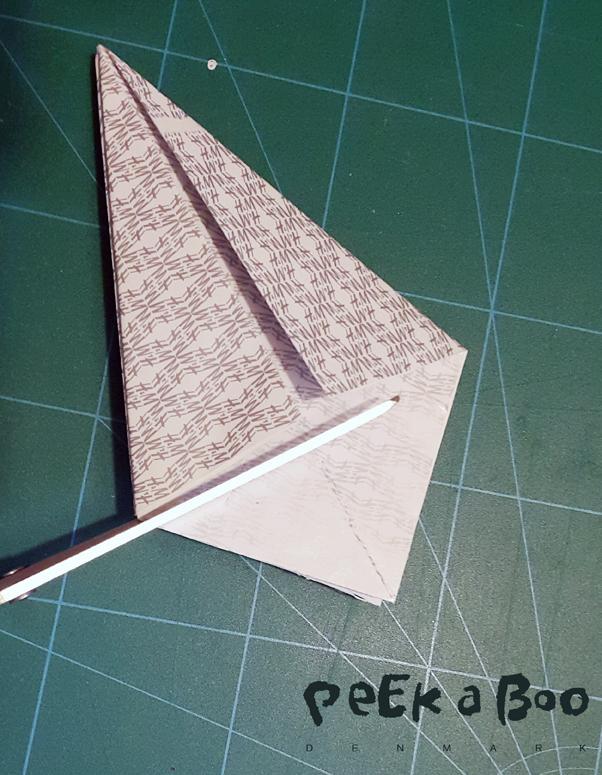 Klip nu de åbne ender af så figuren bliver en trekant.