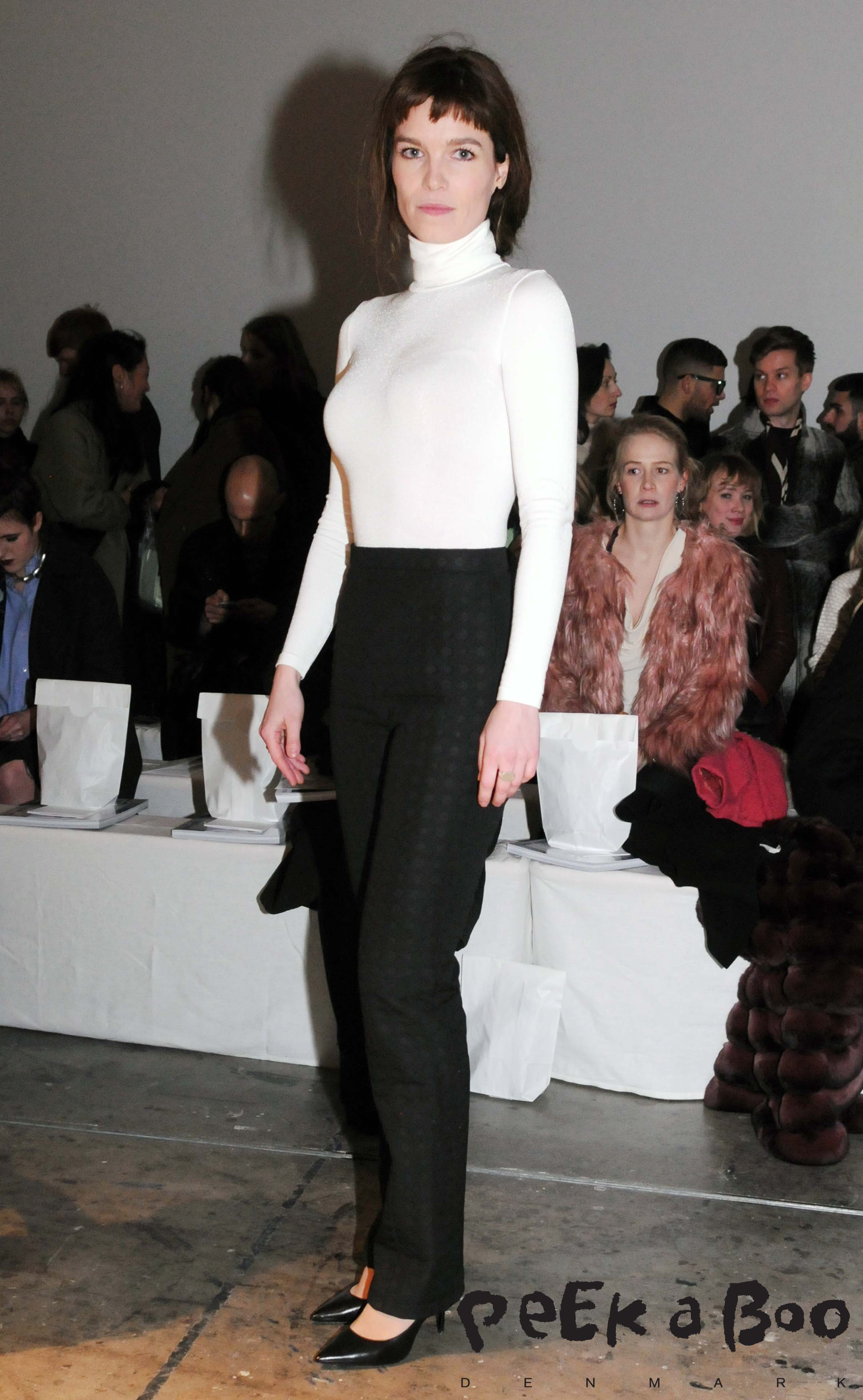 On front row actress Marie Bach Hansen wearing Mark Kenley Domino Tan to the AW 15 show during Copenhagen Fashion Week