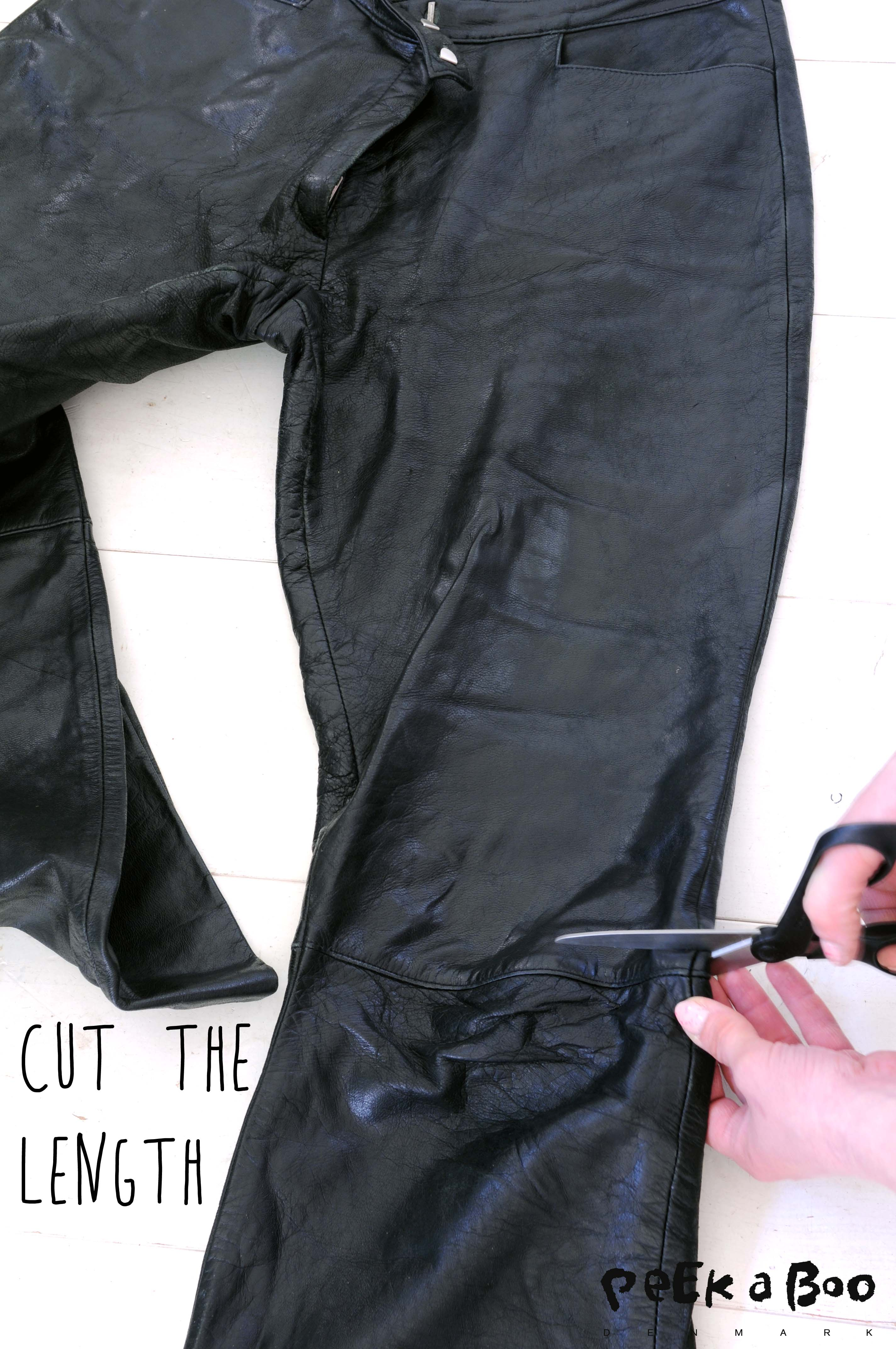 Cut off the length just above the knee. Fold the lining out, so you don't cut that yet.