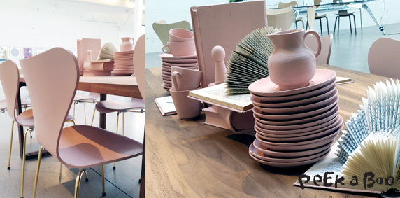 Fritz Hansen pale pink anniversary edition of series 7. Creative styling on the table in all pink...