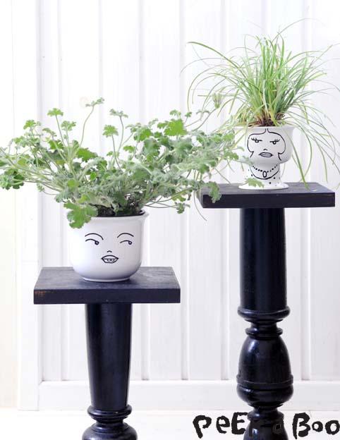 """DIY flowerpots ...from the book """"Kreative idéer med feminine -LOPPEFUND"""" af Lene Nissen."""