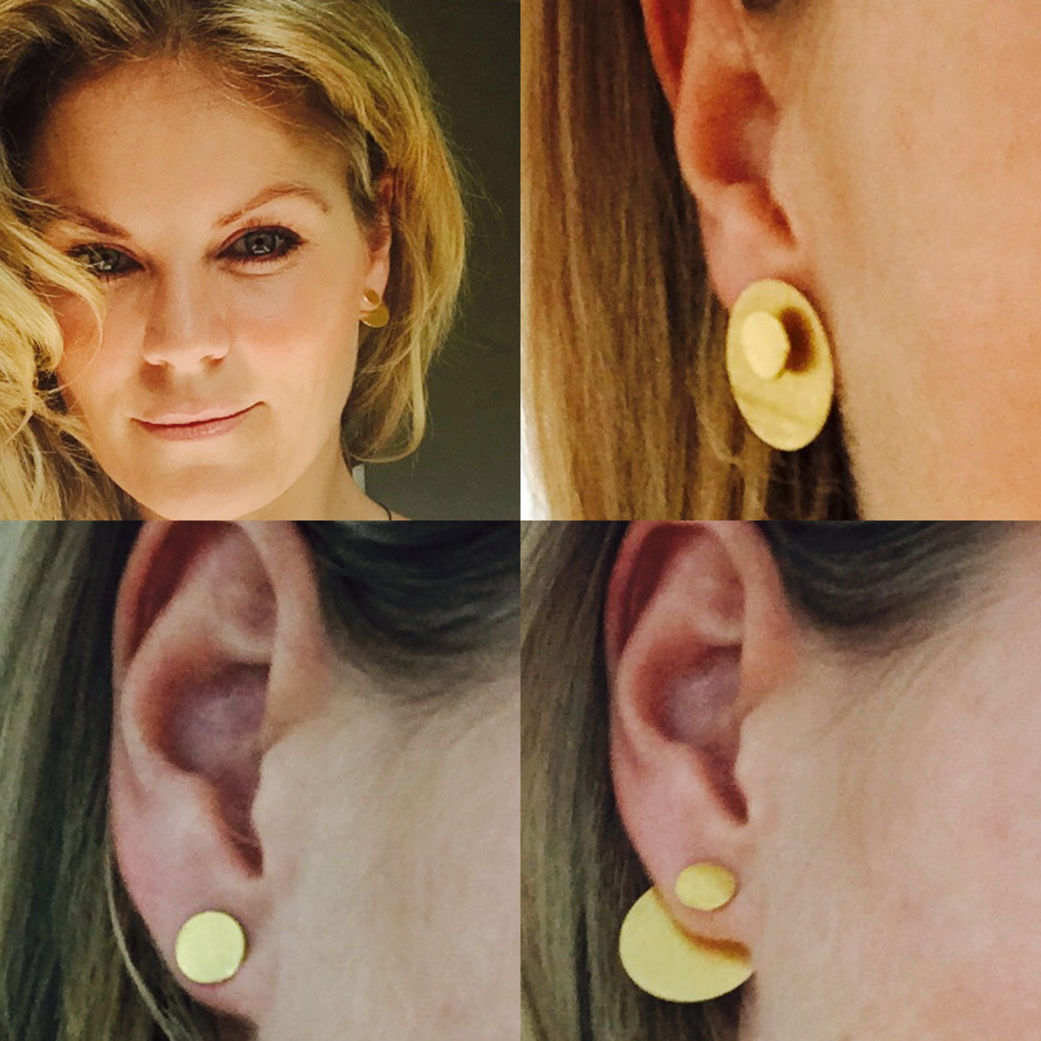 """""""Cirkel i cirkel"""" earrings, by Gaia Jewels, here the designer Cecilie Hother shows some of the combinations that is possible with her design."""