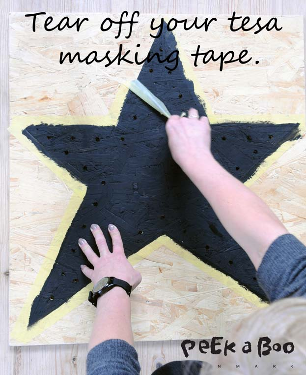 Tear off your tesa masking tape when the paint is try.
