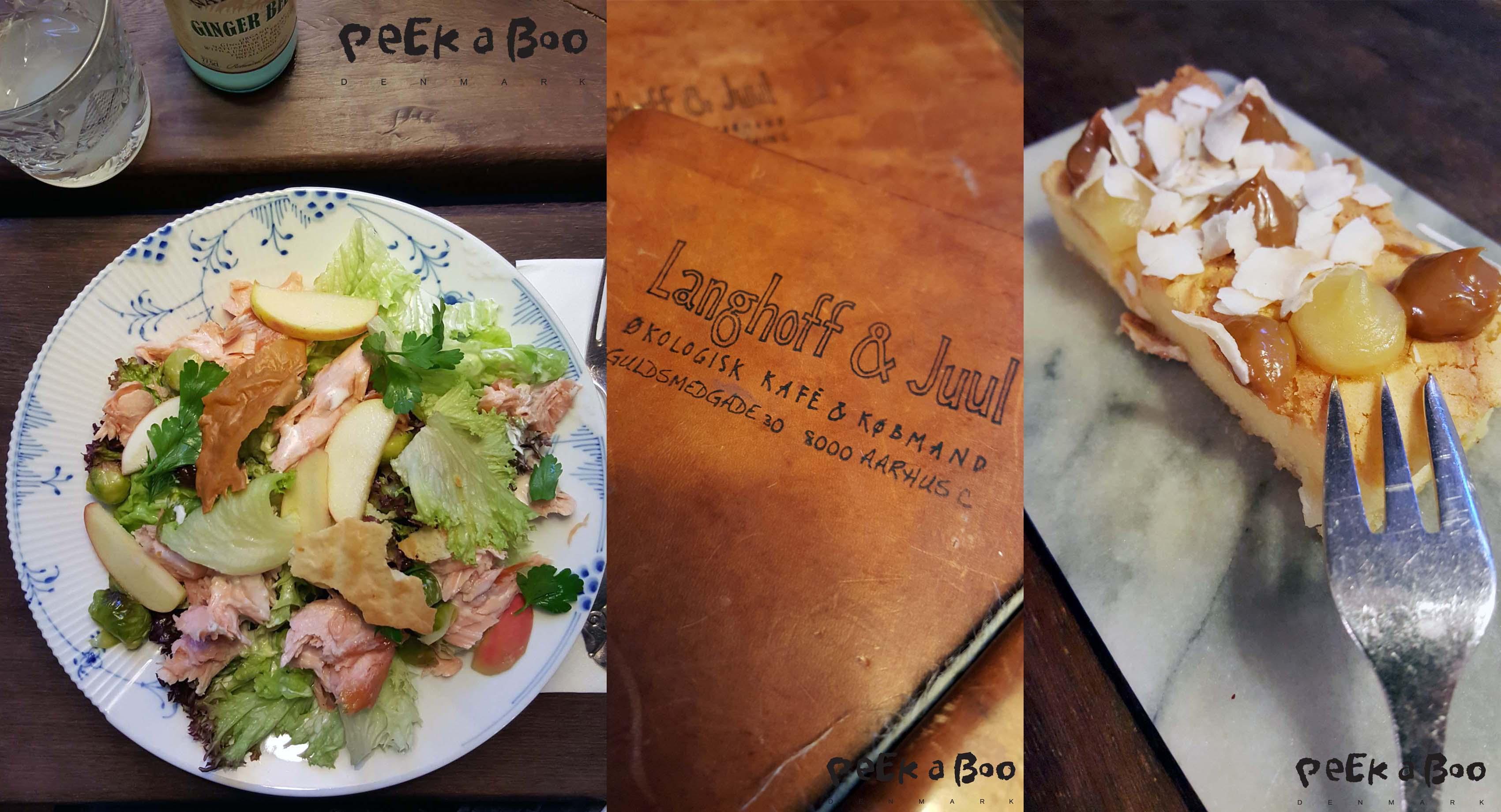 Menuen jeg fik på Langhoff & Juul. Salat med varmrøget laks, og hvid brownie til dessert, alt af økologiske råvarer, virkelig lækkert.