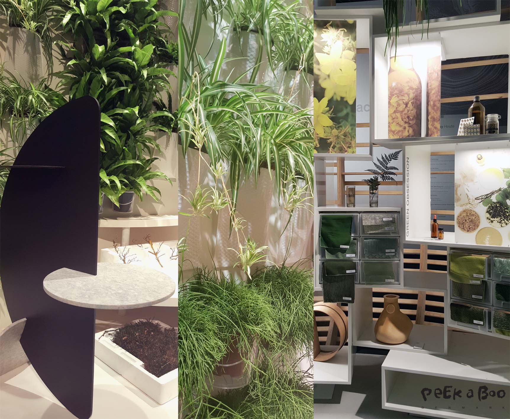The area for Nourish was filled with botanic. Dried plants and fresh wre growing as a vertical garden.