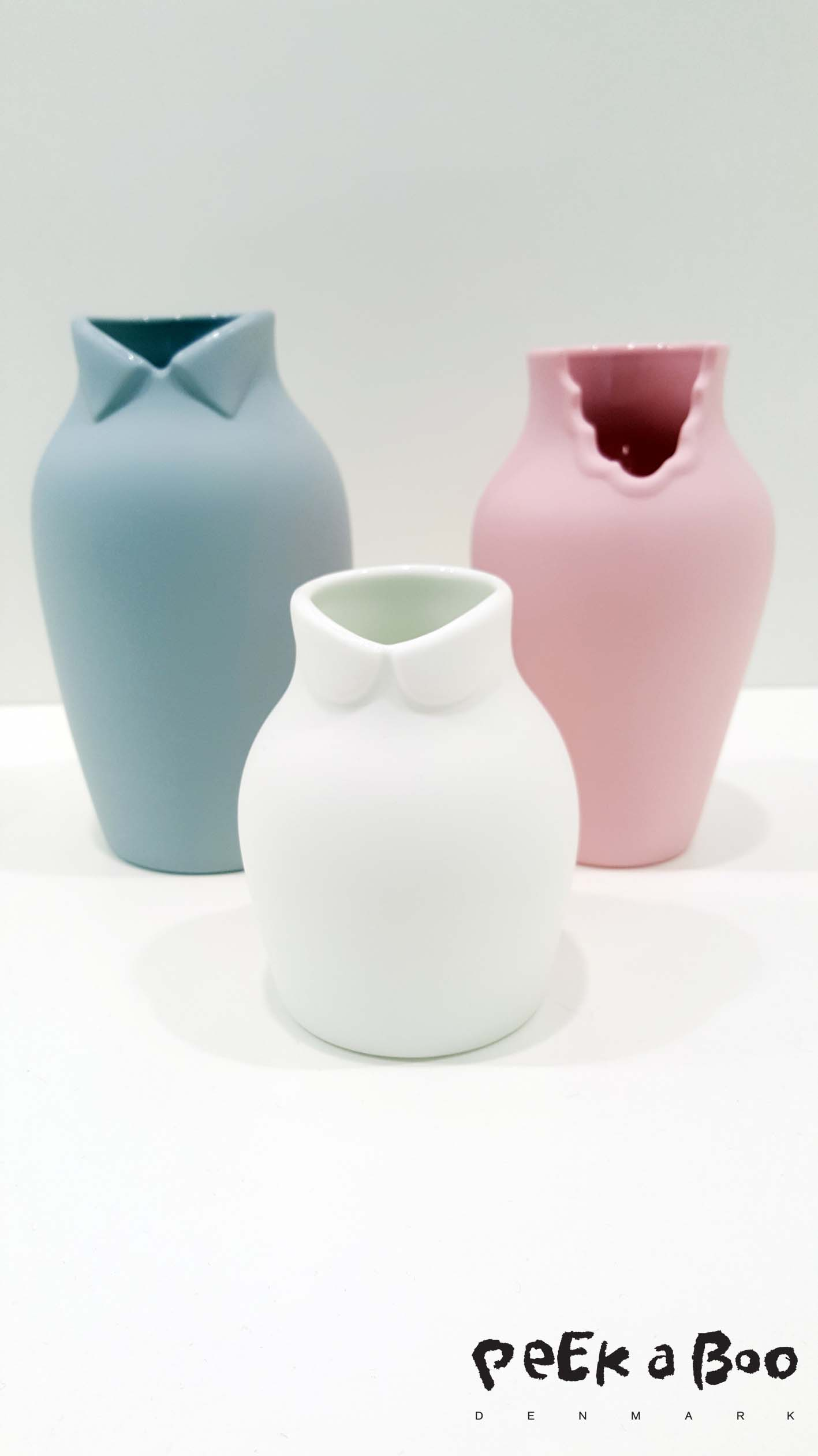 "Ceramic japan made these cute vases in pastel colours and they are called ""dress up""."