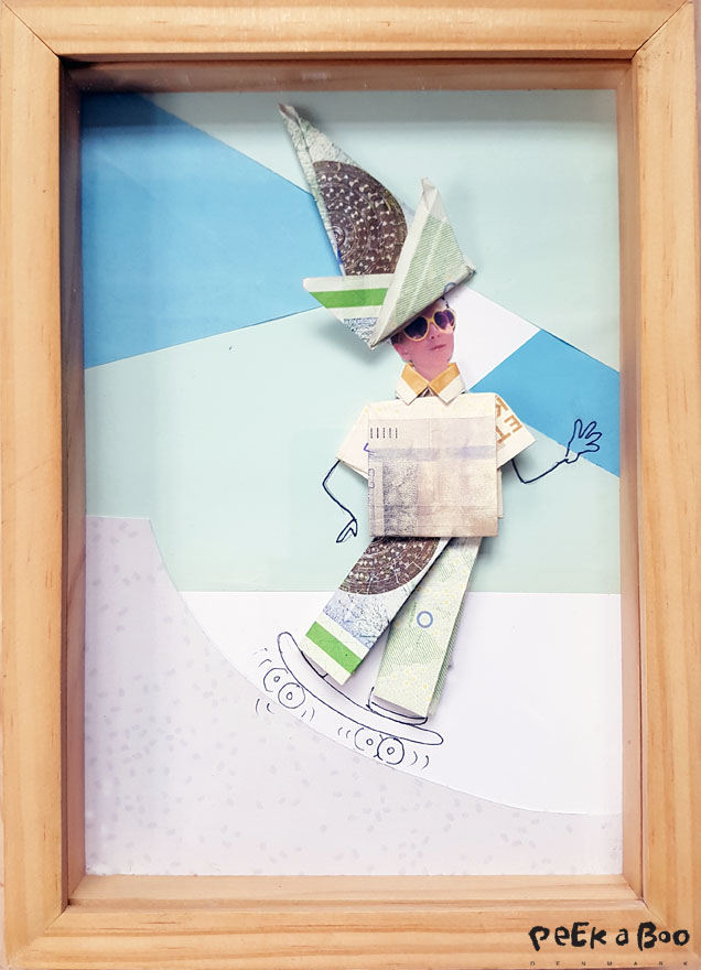 My final result a skater made out of money on a background of coloured paper.