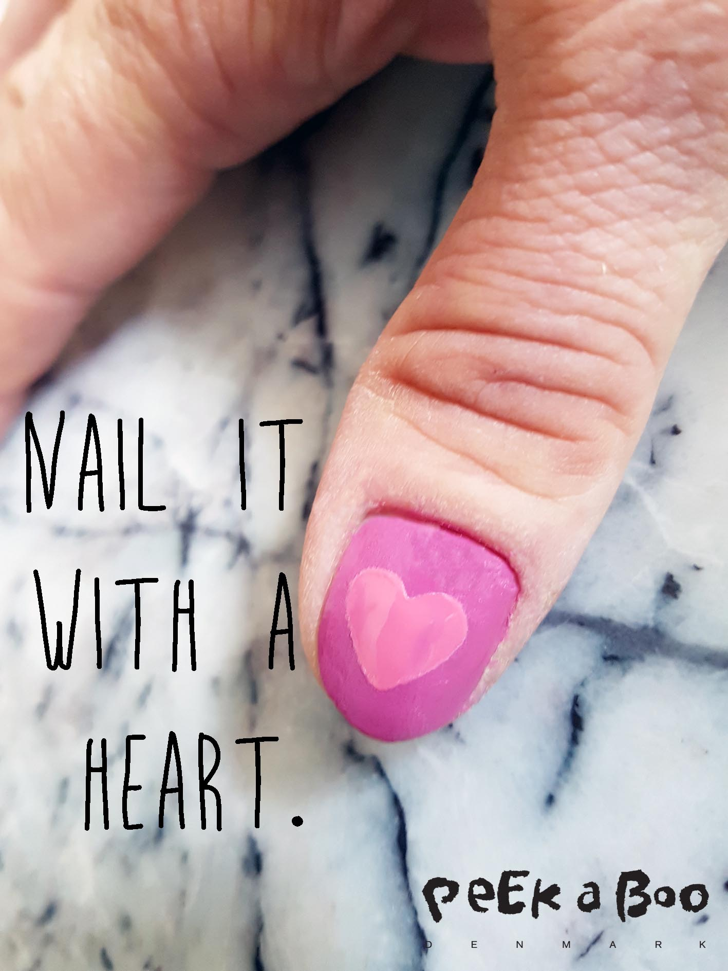 The finished heart nails.