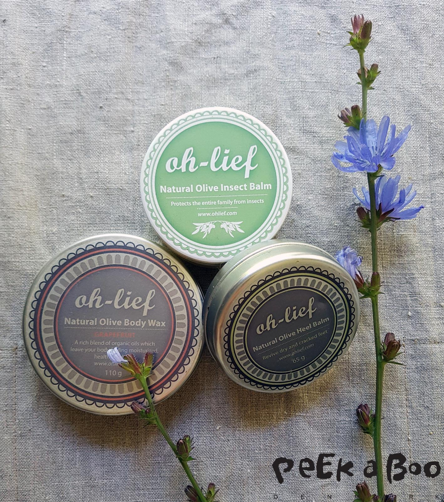 Oh lief body balm, heel balm and Anti insect balm.