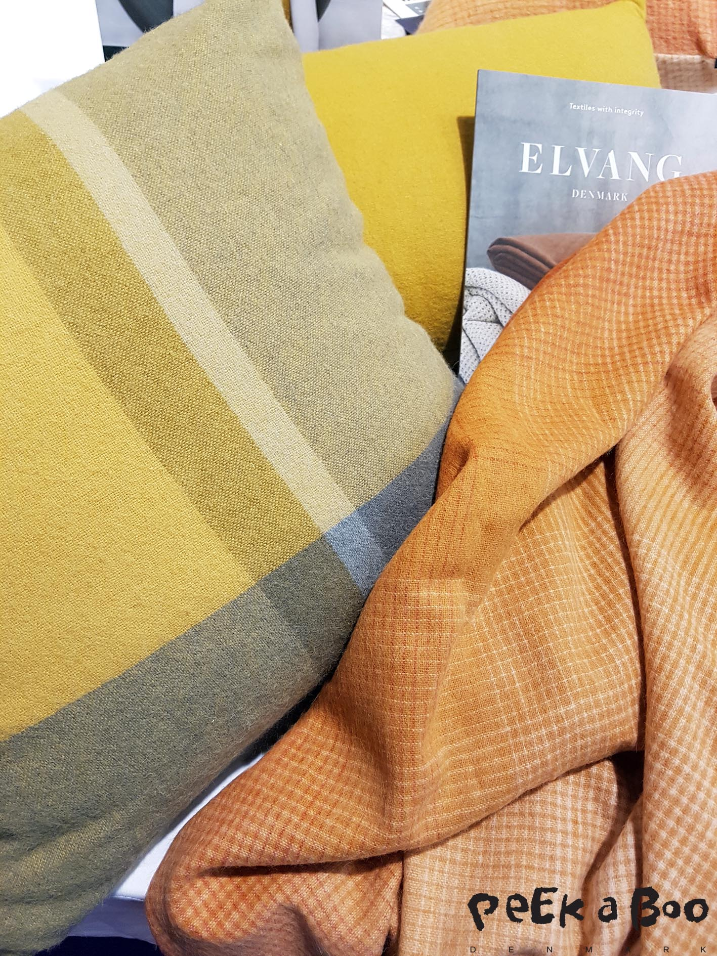 The Danish textile brand Elvang had different variations of the mustard colour woven as lovely soft plaids and cushions. Seen at Tendence in Frankfurt.