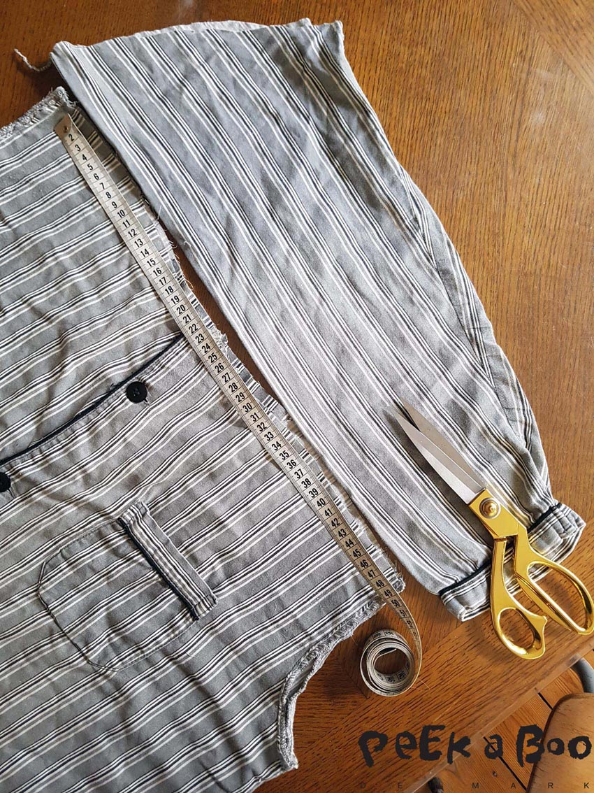 Now measure the waist, and cut from the sleeves a waistband that matches the length.
