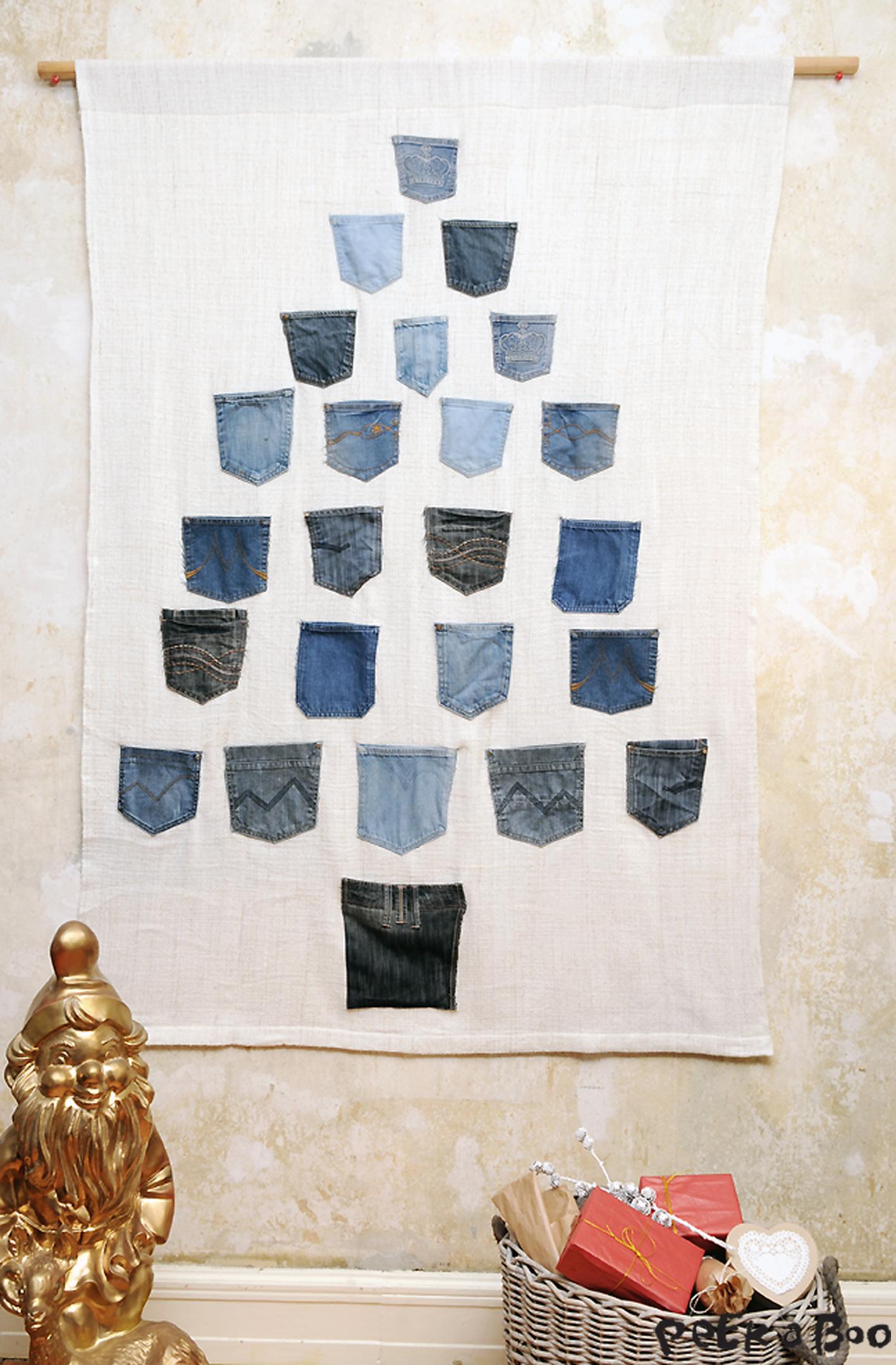 Det endelige resultat efter hele familiens aflagte jeans har fået nyt liv som pakkekalender.
