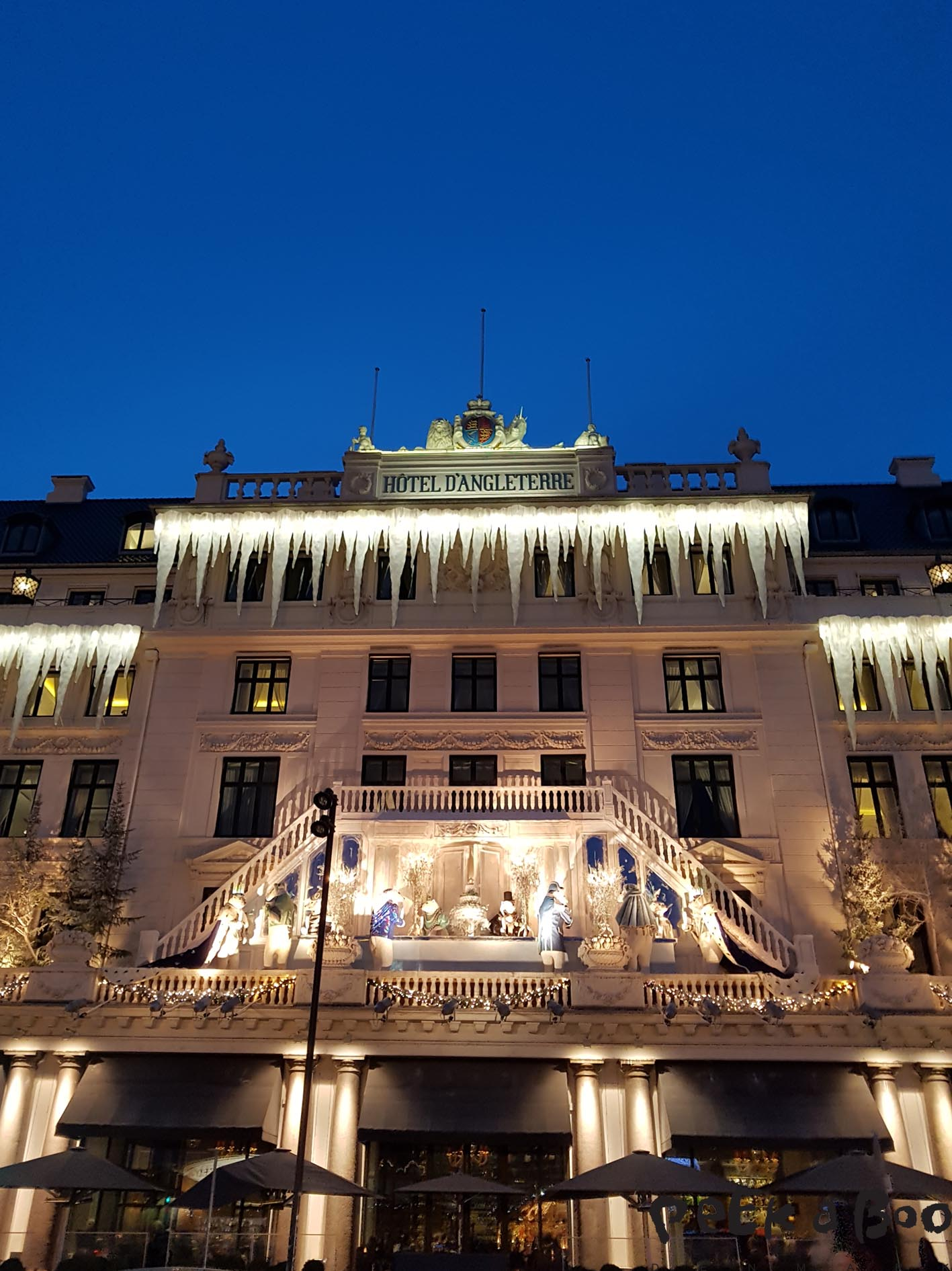 The Christmas decoration on the Hotel D'Angleterre in Copenhagen 2016.