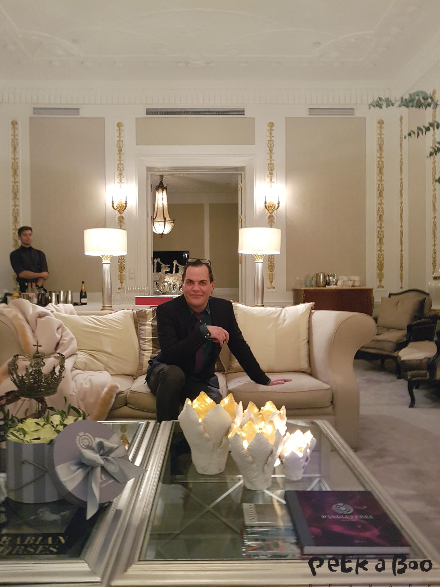 The talented Creative Director Alan Evensen in the Royal Suite of Hotel d'Angleterre.