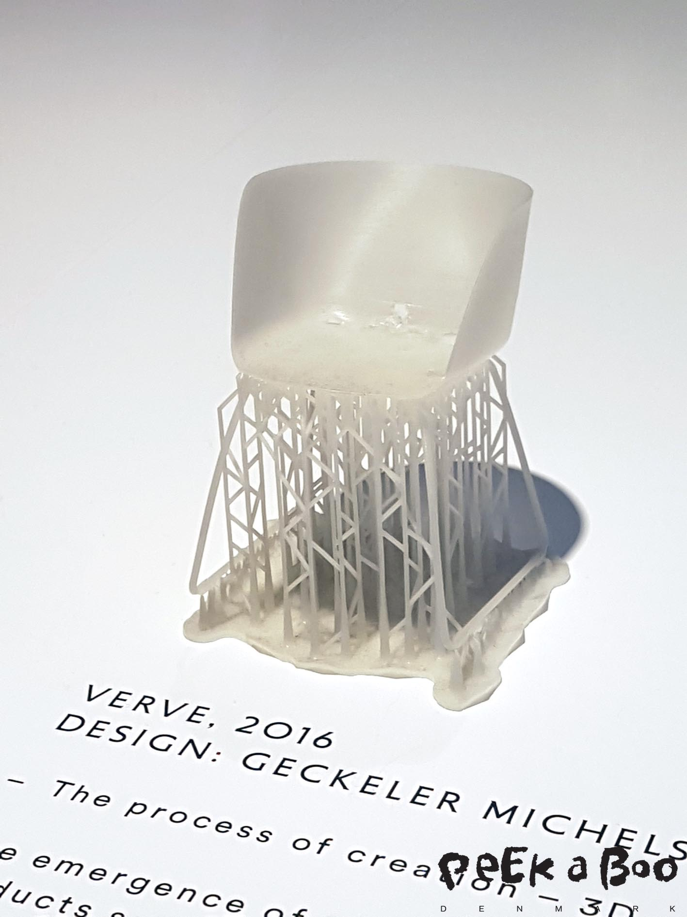 3 D printed model of the VERVE chair. The emergence of 3 D printning techno has eased the initial prototyping of products such as polypropylene shell chair, whihch require heavy investments in moulds and tool.
