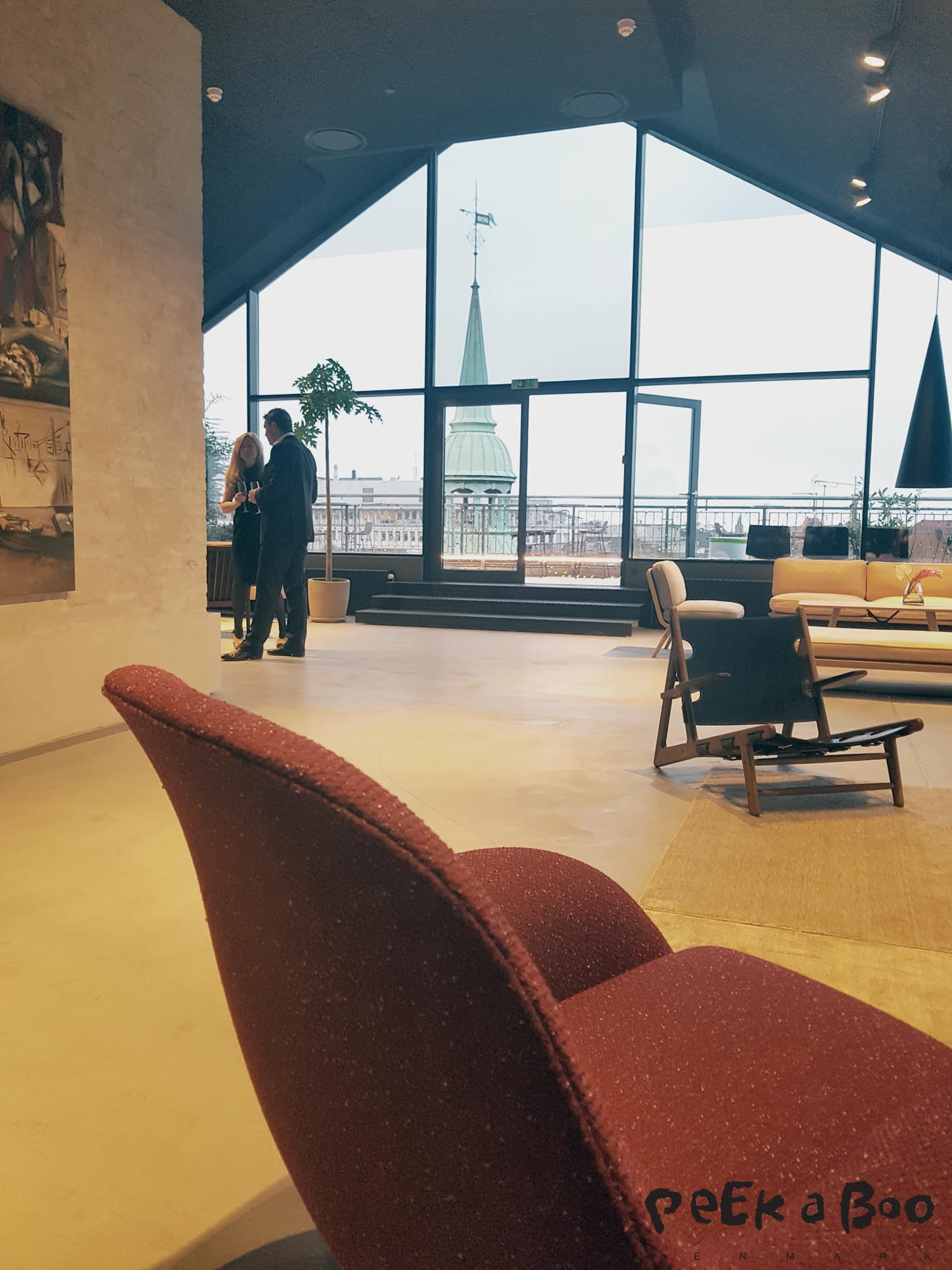 the showroom and rooftop of Fredericia Furniture Showroom in Copenhagen.