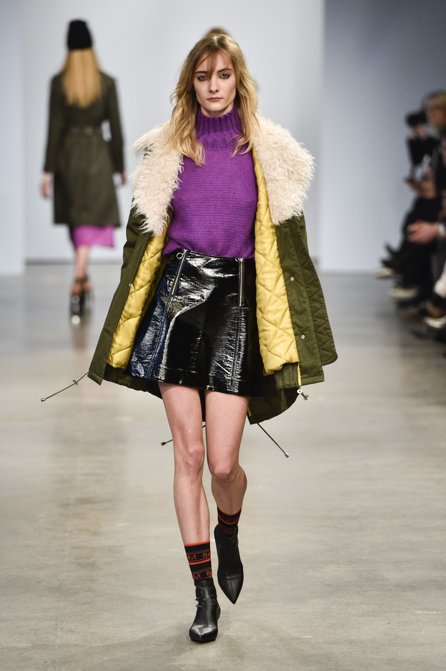 Another very wearable jacket from Baum und Pferdgarten in cordroy and fur trimmings mixed with a patent leather skirt and purple...
