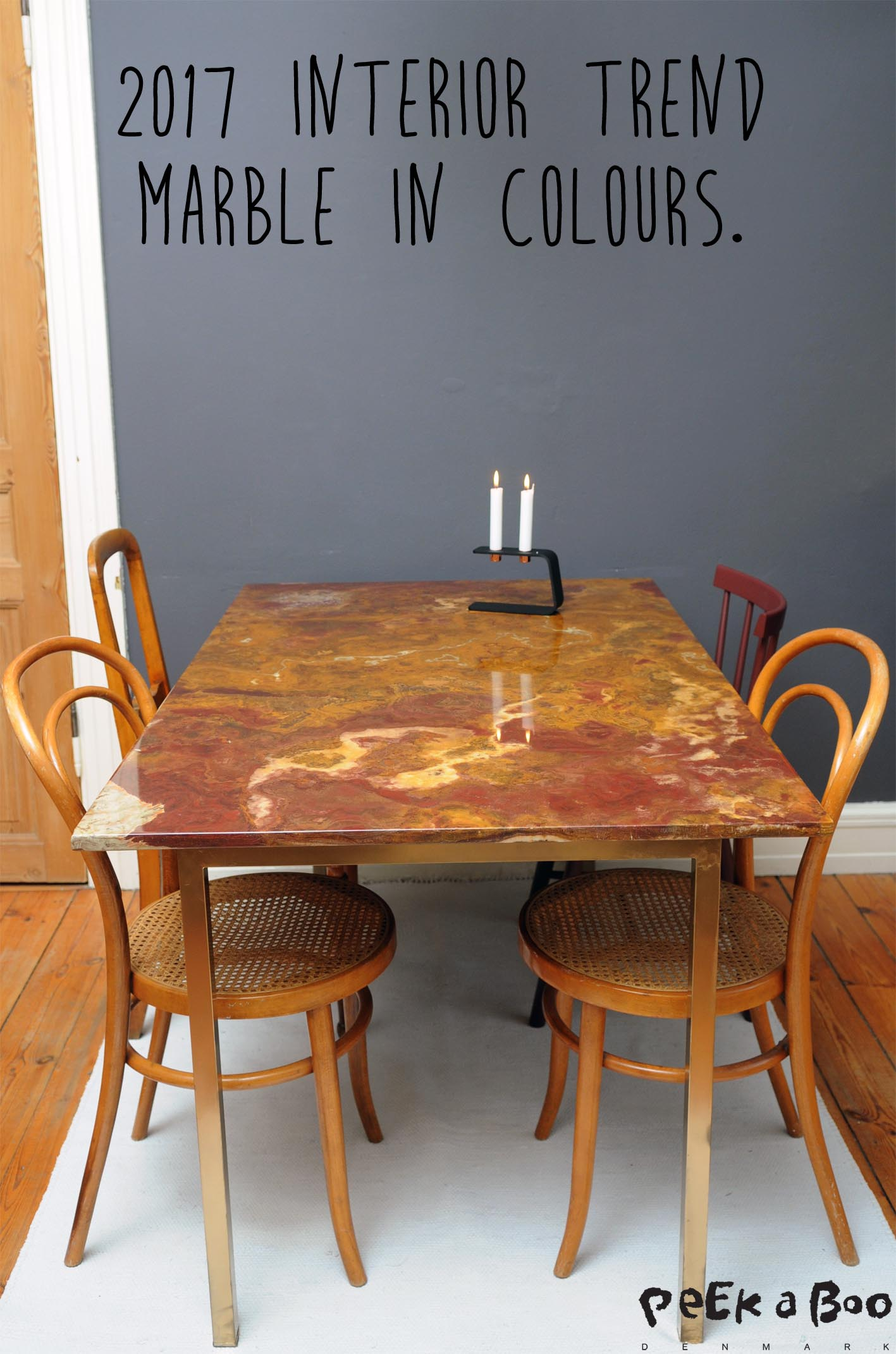Easy peacy DIY marble dining table...or use it as desk in your office.