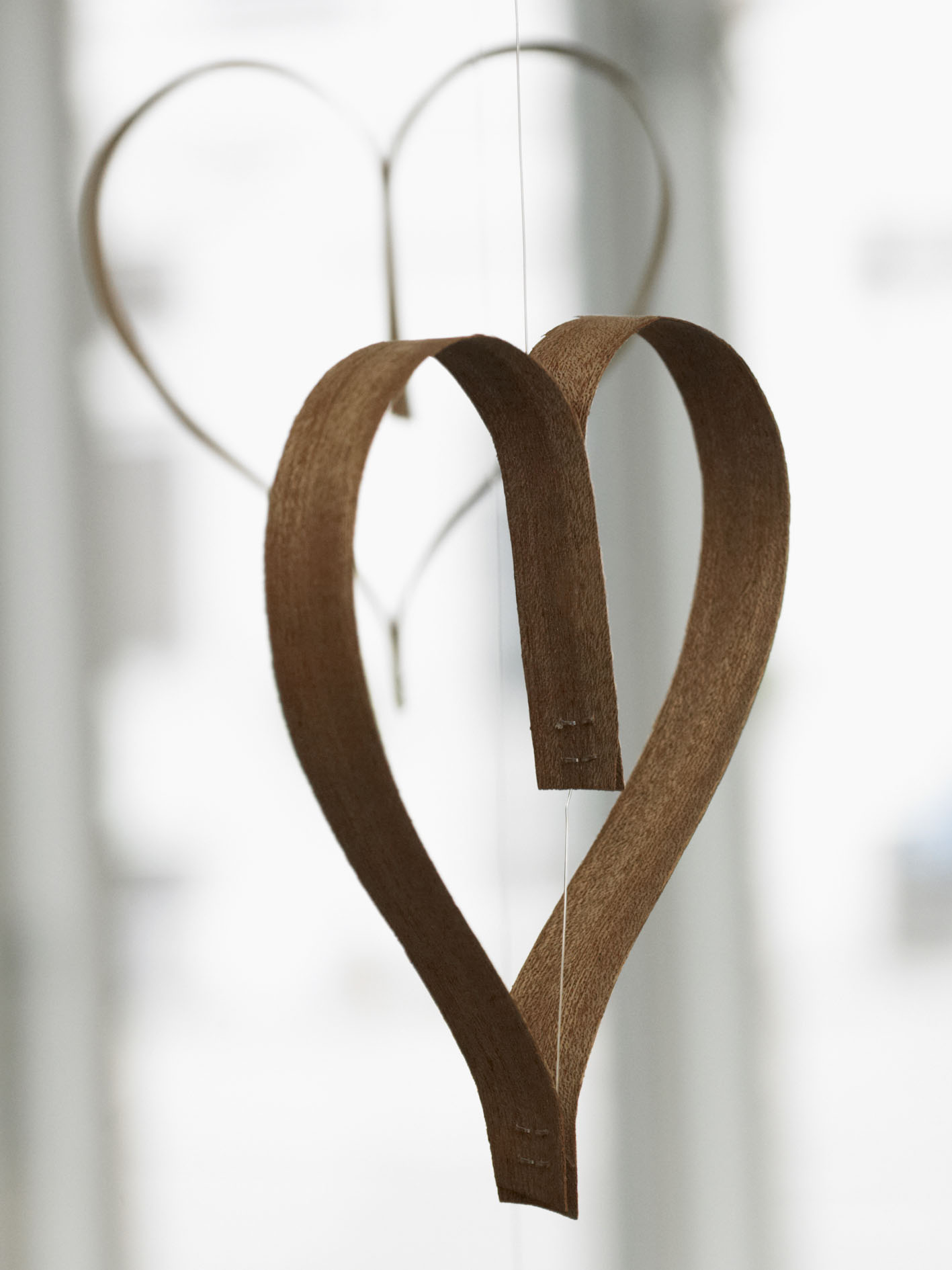 Heart made of wooden veneer.