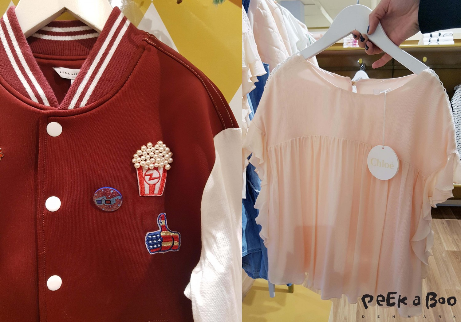 Two other favorits were the feminine top from Chloé and a college jacket from Little Marc with cool badges.