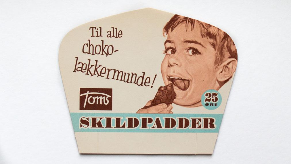 Til choko-lækkermunde, en af de ældste reklamer for Toms skildpadder.... Photocredit: Toms.