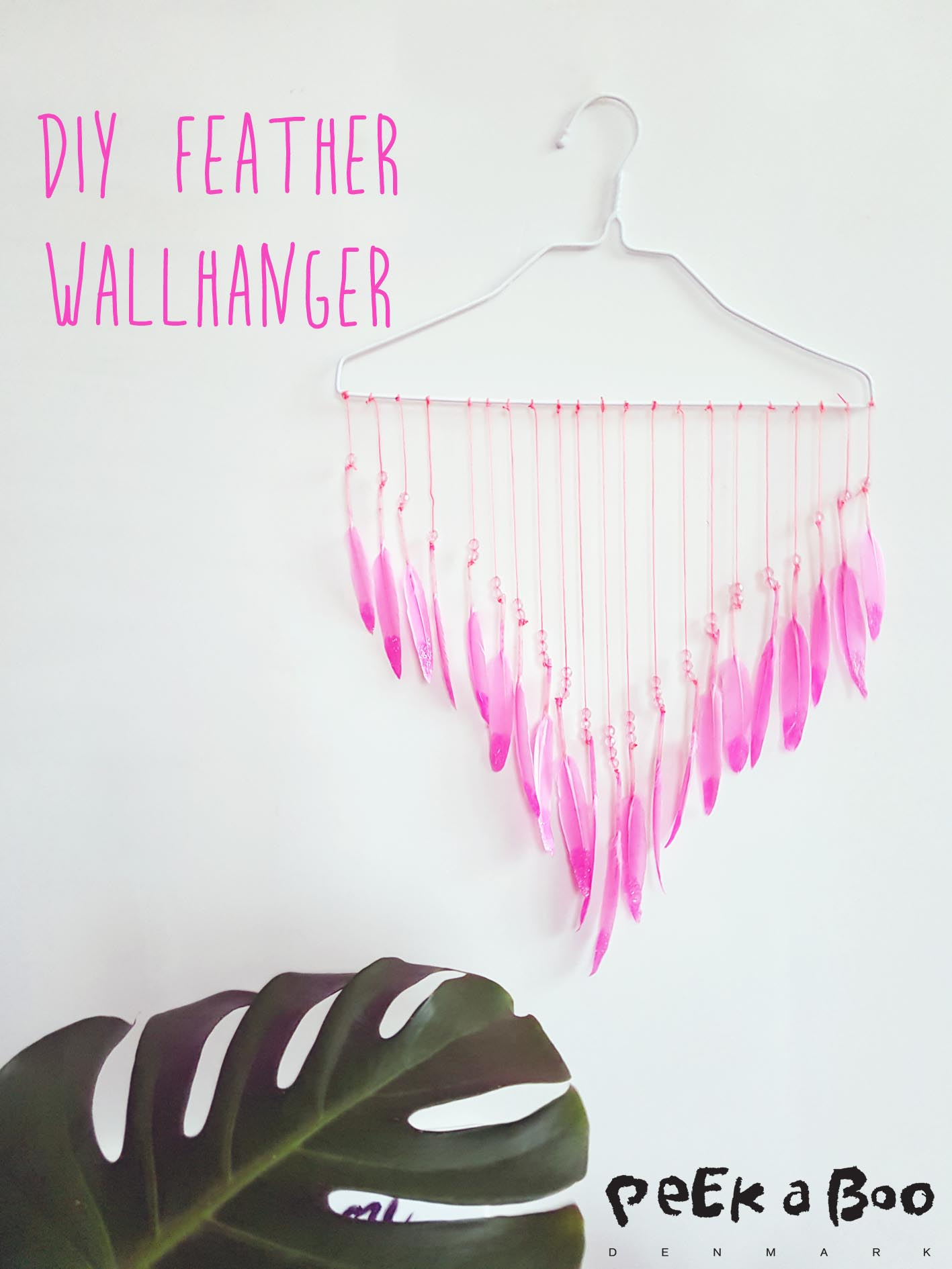 wallhanger with pink feathers made for Flying Tiger