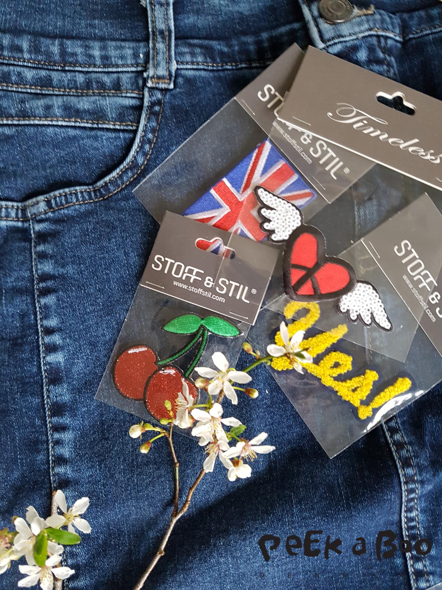 denim from Bessie and iron-on badges from Stoff & Stil.
