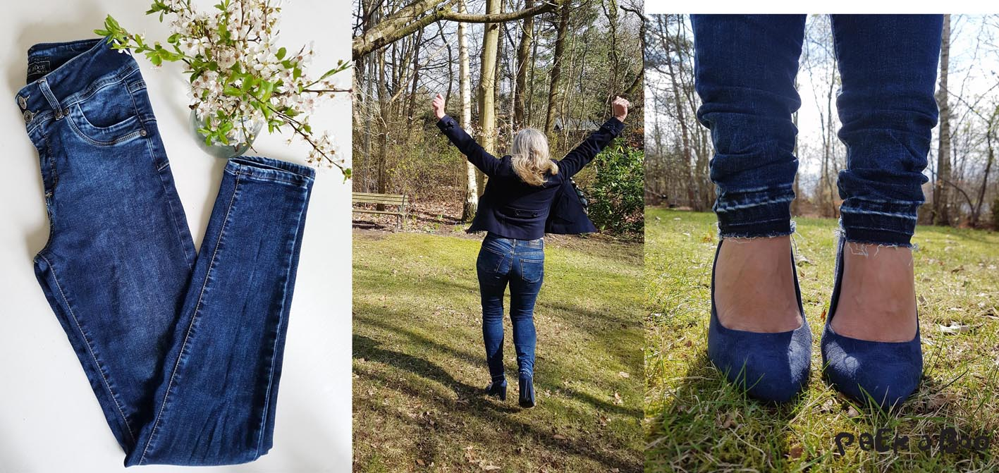 Bessie jeans before I costumized them, and me wearing them on one of the first spring days...and the hem after i opened them.
