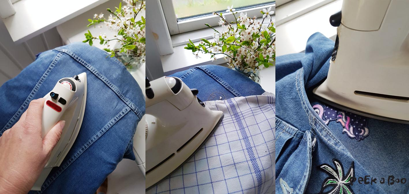 Step by step guide how to iron on the badges and the stud motif.